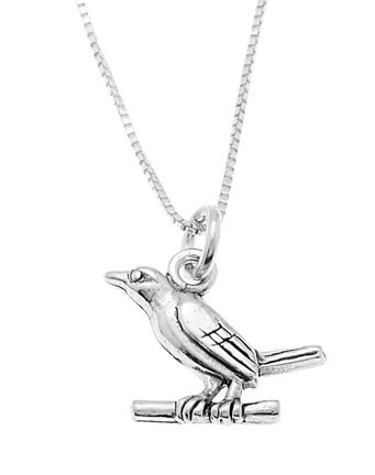 STERLING SILVER WREN BIRD SITTING ON BRANCH CHARM WITH 16 inch BOX CHAIN NECKLACE