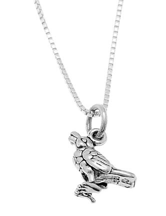 STERLING SILVER CALLING BIRD / CROW BIRD CHARM WITH 16 inch BOX CHAIN NECKLACE