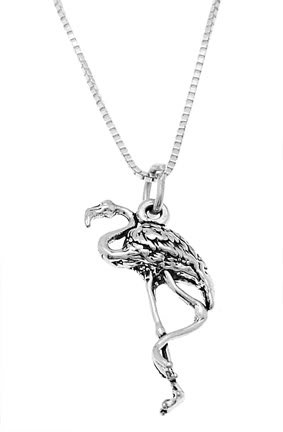 STERLING SILVER FLAMINGO BIRD CHARM WITH 16 inch BOX CHAIN NECKLACE