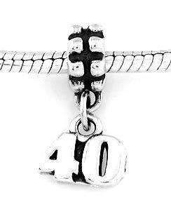 STERLING SILVER DANGLING NUMBER 40 EUROPEAN BEAD