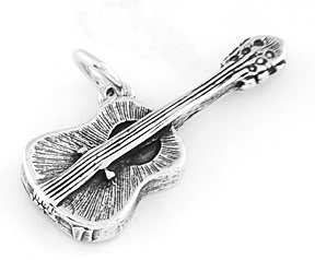 STERLING SILVER ACOUSTIC GUITAR CHARM/PENDANT