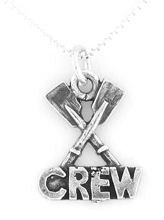 "SILVER 2 PADDLES/ ROWING CREW CHARM W/ 16"" BOX CHAIN"