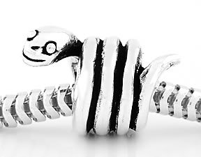 STERLING SILVER 3D SMILING SNAKE EUROPEAN BEAD