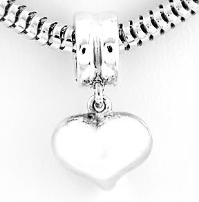STERLING SILVER DANGLING PUFFED HEART EUROPEAN BEAD
