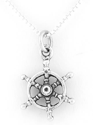 "STERLING SILVER CAPTAIN'S WHEEL CHARM W/ 16"" BOX CHAIN"