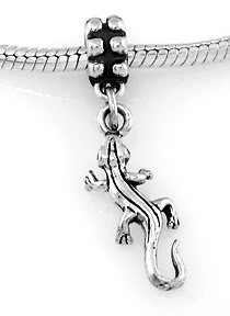 STERLING SILVER DANGLING 3D LIZARD/GECKO EUROPEAN BEAD
