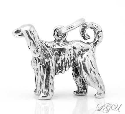 STERLING SILVER AFGHAN HOUND 3D CHARM/PENDANT