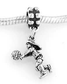 STERLING SILVER DANGLE VOLLEYBALL GIRL EUROPEAN BEAD