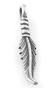 STERLING SILVER FEATHER CHARM/PENDANT