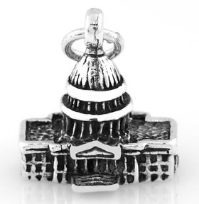 STERLING SILVER 3D CAPITOL BUILDING CHARM/PENDANT