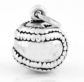 STERLING SILVER SOLID SOFTBALL 3D CHARM/PENDANT