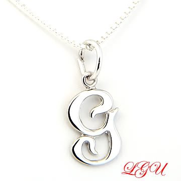 "STERLING SILVER INITIAL G & 18"" Box Chain"