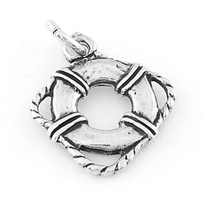 STERLING SILVER LIFE PRESERVER RING CHARM/PENDANT