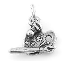 STERLING SILVER SMALL PAINTER'S PALETTE CHARM/PENDANT