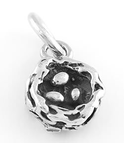 STERLING SILVER BIRD'S NEST WITH EGGS CHARM/PENDANT