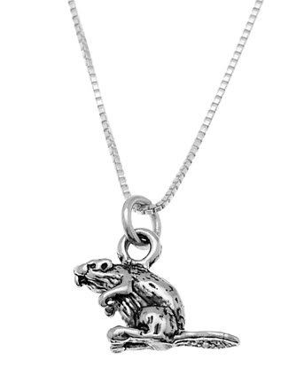 STERLING SILVER BEAVER CHARM WITH 16 INCH BOX CHAIN NECKLACE