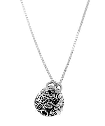 STERLING SILVER BEEHIVE /  BEEHOUSE CHARM WITH 16 INCH BOX CHAIN NECKLACE