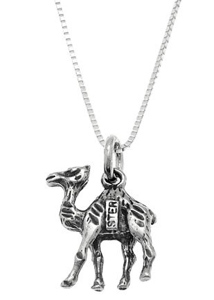 STERLING SILVER CAMEL CHARM WITH 16 inch BOX CHAIN NECKLACE
