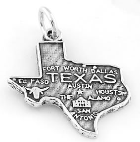 STERLING SILVER LONE STAR STATE OF TEXAS CHARM/PENDANT