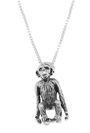 STERLING SILVER ORANGUTAN MONKEY / CHIMP CHARM WITH 16 inch BOX CHAIN NECKLACE