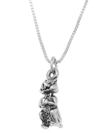 STERLING SILVER SMALL CHIPMUNK HOLDING NUT CHARM WITH 16 inch BOX CHAIN NECKLACE