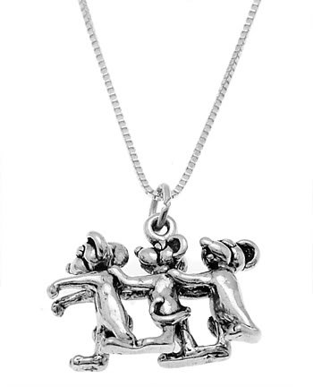 STERLING SILVER THREE BLIND MICE CHARM WITH 16 inch BOX CHAIN NECKLACE