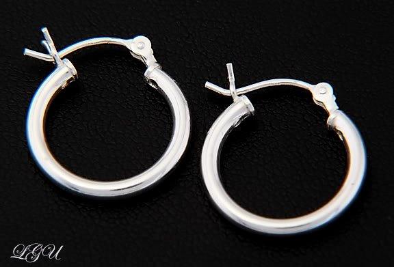 STERLING SILVER POLISHED PLAIN HOOP EARRINGS 16mm X 2mm