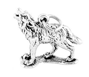 STERLING SILVER HOWLING WOLF CHARM/PENDANT