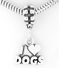 STERLING SILVER DANGLING I LOVE DOGS HEART EUROPEAN BEAD