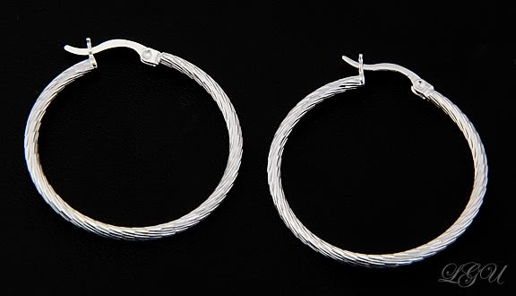 STERLING SILVER POLISHED DC HOOP EARRINGS 30mm X 2mm