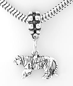 STERLING SILVER DANGLING 3D TIGER EUROPEAN BEAD