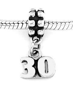 STERLING SILVER DANGLING NUMBER 30 EUROPEAN BEAD