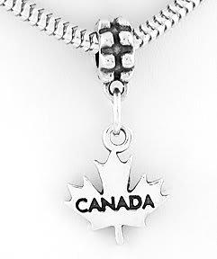 STERLING SILVER DANGLING CANADA MAPLE LEAF EUROPEAN BEAD