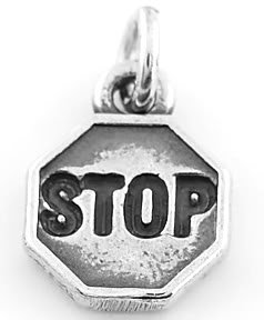 STERLING SILVER  STOP SIGN CHARM/PENDANT