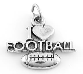STERLING SILVER 925 I LOVE FOOTBALL SIGN CHARM/PENDANT