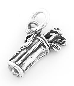 STERLING SILVER GOLF BAG AND CLUBS CHARM/PENDANT