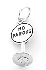 STERLING SILVER 925  NO PARKING SIGN CHARM/ PENDANT