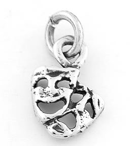 STERLING SILVER 925 COMEDY TRAGEDY MASKS CHARM/PENDANT