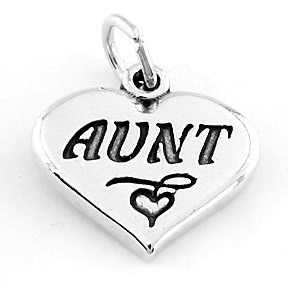 STERLING SILVER AUNT HEART CHARM/PENDANT