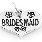 STERLING SILVER BRIDESMAID IN  HEART CHARM/PENDANT