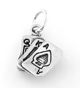 STERLING SILVER ACE OF SPADES CHARM/PENDANT