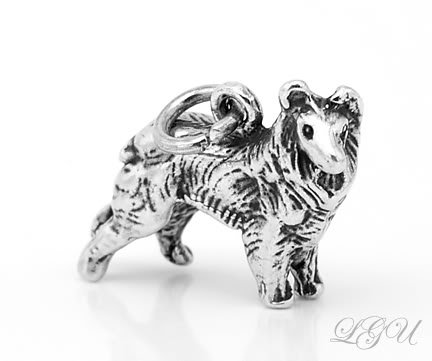 STERLING SILVER 925 COLLIE 3D CHARM/PENDANT