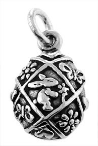 STERLING SILVER EASTER EGG w/RABBIT CHARM/PENDANT