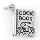 STERLING SILVER RECIPE COOK BOOK CHARM/PENDANT