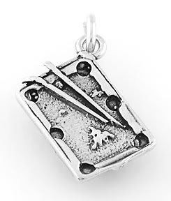 STERLING SILVER POOL TABLE CHARM/PENDANT