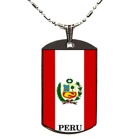 Peru Flag Polymer Glazed Dog Tag