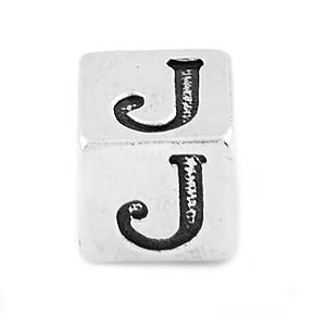 STERLING SILVER BLOCK LETTER INITIAL J CUBE CHARM