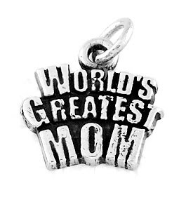 STERLING SILVER WORLD'S GREATEST MOM CHARM/PENDANT