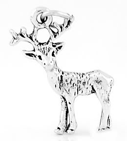 STERLING SILVER STANDING DEER 3D CHARM/PENDANT