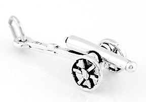 STERLING SILVER CANNON 3D CHARM/PENDANT